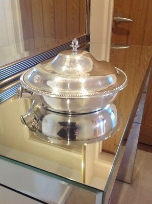 Vintage Silver Plated Lidded 3 Section Vegetable Warming Dish