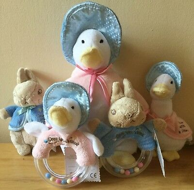 Beatrix Potter Peter Rabbit & Jemima Puddle-Duck. Beanies & Ring Rattles. New