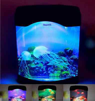 Light Up Jelly Fish Tank Colour Changing Mood Sensory Night Lamp Autism Gift