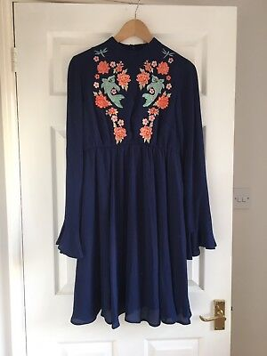Asos Maternity Size 8 Navy Dress With Beautiful Embroidery, Worn Once