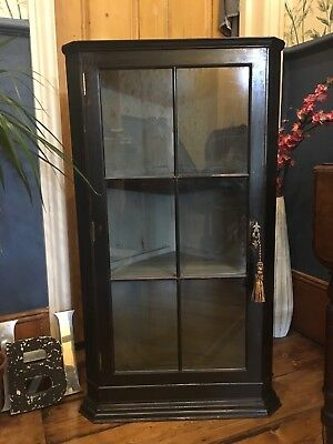Stunning antique painted wooden cocktail drink display cabinet bookcase cupboard