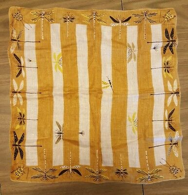Tammis Keefe Handkerchief Yellow Gold with Insects Dragonflies