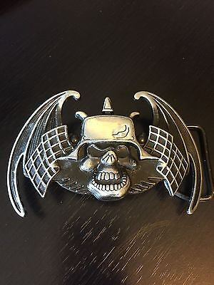 Skull with Helmet with Wings Flags Silver Tone Black Different