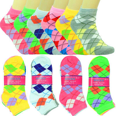 6-12 Pairs Fashion Cotton Women Girls Ankle School Casual Socks Size 9-11 argyle