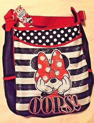 "Disney Minnie Mouse Sequin Beach Tote Large Zip Bag K Mart - ""oops!"""