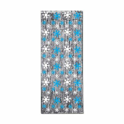 Beistle 1-pack Snowflake 1-ply Flame Resistant Gleam 'N Curtain, 8-feet (V2K)