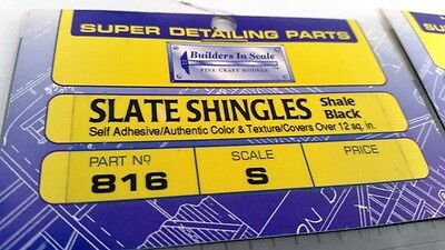 S Sn3 HO Hon3 Shale Black Slate Shingles  B-I-S #816 Self adhere covers 12 sq.