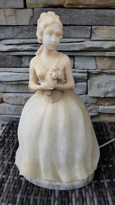 Vintage 1920 Prof G Bessi Lady W Bouquet Flower Figural Carved Alabaster Lamp