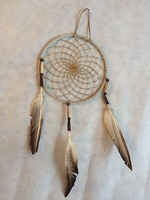 """Handmade 6"""" All Natural Dreamcatcher with Native American Hair and Hawk Feathers"""