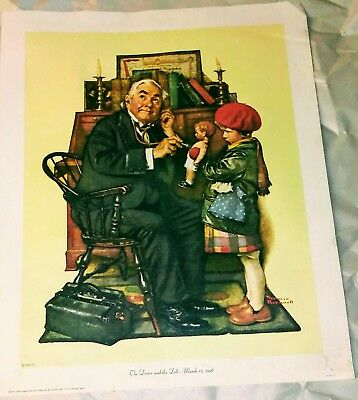 "1972 Norman Rockwell ""The Doctor and The Doll"" Litho Print"