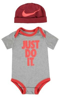 Nike Just Do It Two Piece Set Baby Boys Playsuit Bodysuit Vest - Grey and Red