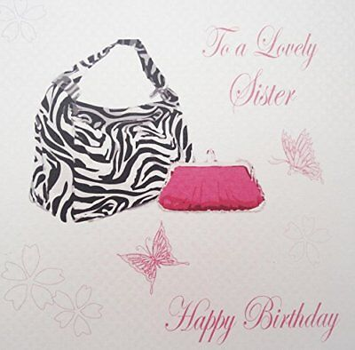 "White Cotton Cards Zebra Stampa Borsa""A Lovely Sister compleanno Happy (z4k)"
