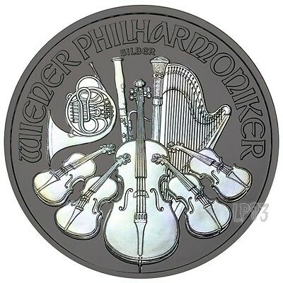 2017 1 Oz SILVER HOLOGRAM PHILARMONIC Coin WITH RUTHENIUM, Blister And Coa.