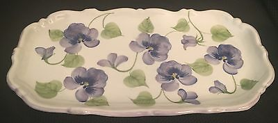 Rectangle Dish/Platter Purple Flowers Green Leaves Andrea by Sadek Thailand 11""