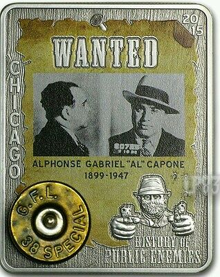 2015 1 Oz Silver Al CAPONE Coin,Embed 38 Special WITH REAL GUN CAPSULE..