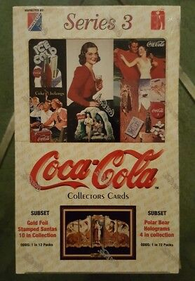 Coca Cola Factory Sealed Box of Series 3 Collection Cards w 36 Packs - NEW 1994