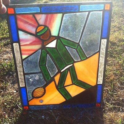 """Vintage Hand Made 14"""" x 11"""" Tennis Player Stained Glass Panel Suncatcher Window"""
