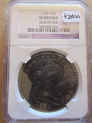 1799 Draped Bust Silver Dollar NGC VF Details Scratches Philadelphia $1 Coin