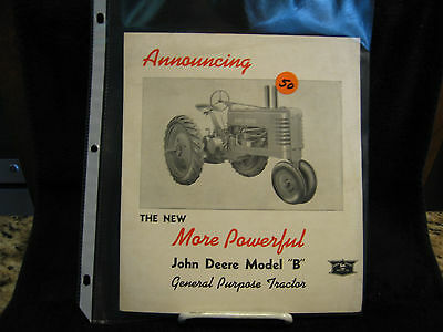 "Vintage 1940 ""Announcing More Powerful John Deere B Tractor""Brochure (A456-40-4)"