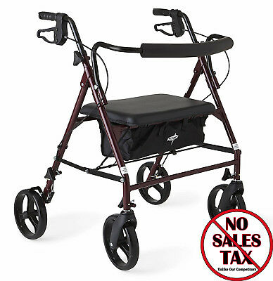 "Heavy Duty Rollator Walker with 8"" 4 Wheels, 500 lb. Capacity Extra Wide Seat"