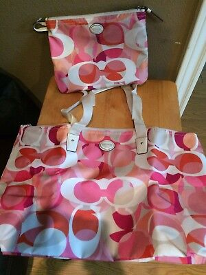 Coach Multi-color Pink Beachbag Inside A Makeup Bag - New With Tags