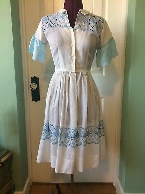 1950s Blue and White Cotton Day Dress
