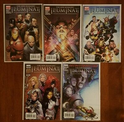 Marvel Comics The New Avengers Illuminati #1 2 3 4 5 Full Series Comic Lot