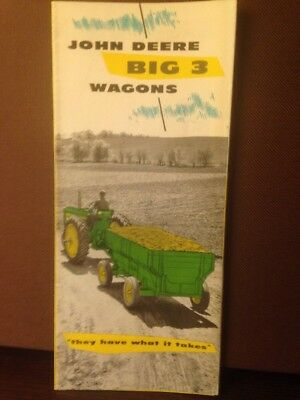 vintage John  Deere advertising Brochure Big Three 3  Wagons 1957