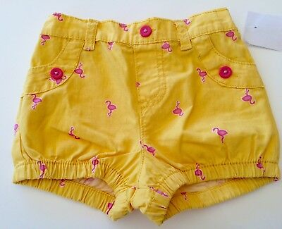New Cute Baby Girls Yellow Shorts Size 0 With Pink Flamingo Flamingos Pattern