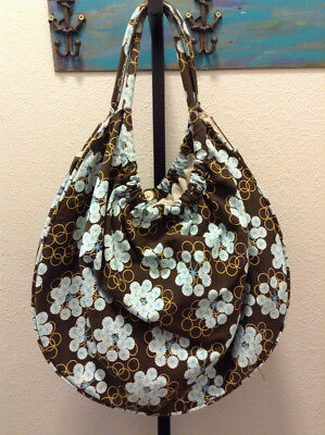Elsapel hobo bag material purse handbag brown blue Large 2B