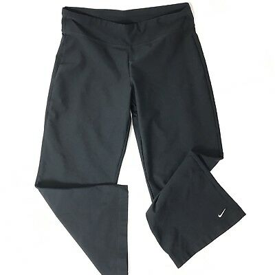 Nike DRI-FIT Black Capri Running Pants Size Medium Stretch Leggings Fitness Yoga