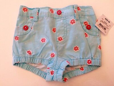 New Cute Baby Girls Blue Shorts Size 00 with Pink Floral Flower  Pattern