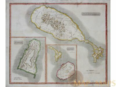 St. Christophers St. Lucia & Nevis Old map Thomson 1817