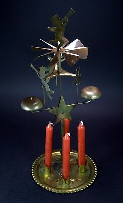 "Vintage Brass Christmas ANGEL CHIMES w/Box 12"" Tall   Andersson & Boberg, Sweden"