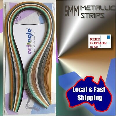 Brand New 80 x 5mm Metallic Assorted Quilling paper strips Quilling supplies