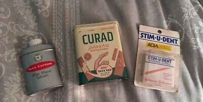 Vintage Johnson's Curad  Bandages Max Factor After Shave Metal Tin Advertising