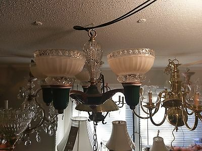 Stunning 1918 5 Light Art Nouveau Chandelier Hand Painted & 100% Restored
