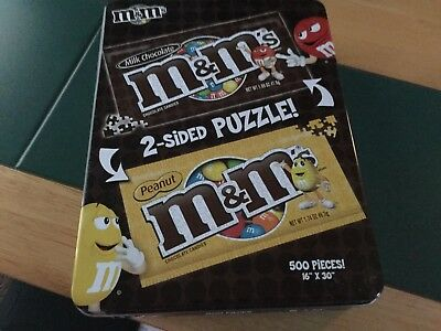 M&M 2 sided puzzle 500 pieces 16x30  in tin box brand new