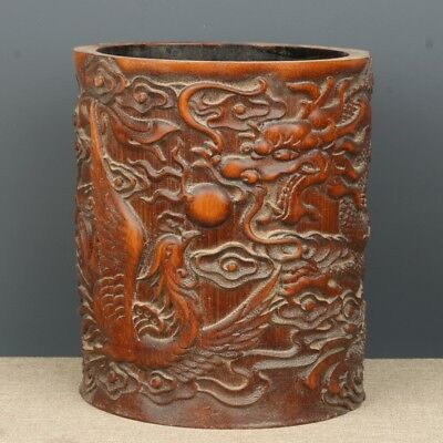 Chinese Exquisite Hand-carved Dragon Phoenix carving bamboo Pen holder
