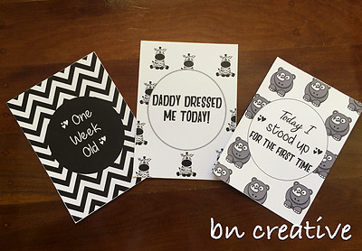 Baby Milestone & Novelty Moments Cards, Brand New, Monochrome Set of 25, Unisex