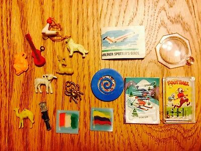 Vintage Lot of (16) Cracker Jack Charms, Animal, Pinball, Airline Spotter, Glass