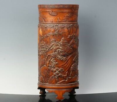 Chinese Exquisite Hand-carved landscape carving bamboo Pen holder / pots