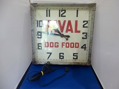 RARE 1930s RIVAL DOG FOOD ADVERTISING WALL CLOCK WITH METAL FRAME WORKS