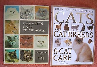 lot of 2 Cat Breeds & Care  * Champion Cats of the World * HC Large Books