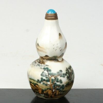 China Exquisite Handmade Landscape pattern Gourd-shaped Glass snuff bottle
