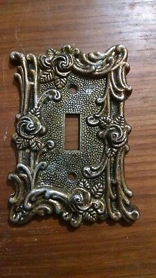Vintage American Tack Amer Brass Single Switch Plate Cover Floral Roses