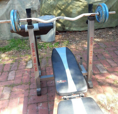 Weight Bench Press ~ Curl Bar ~ 20 Kilo Olympic Weights + 7 Kilo Odd Weights