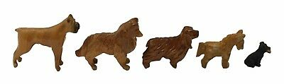 Lot of 5 Vintage Wooden Carved Dog Figurines Boxer Cocker Spaniel Collie Puppy