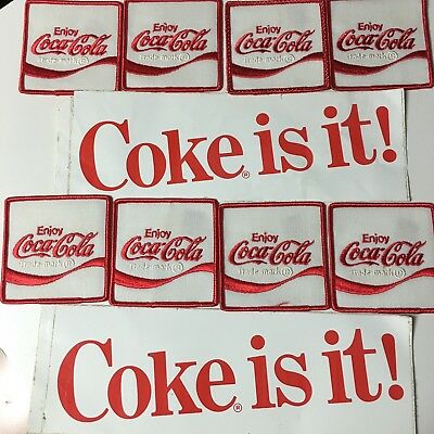VINTAGE COCA COLA PATCHES 8 And 2 COKE IS IT BUMPER STICKERS