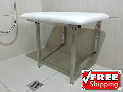Shower Chair Seat Fold Up Disabled Aid Stainless Steel Padded Commercial